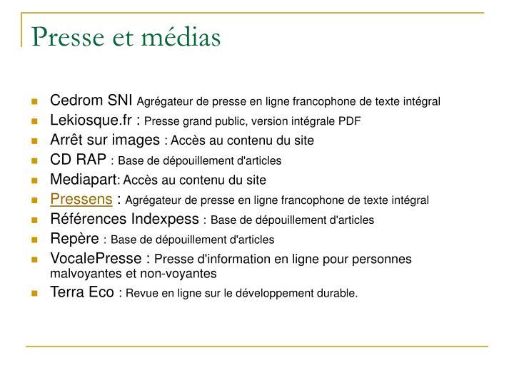 Presse et médias