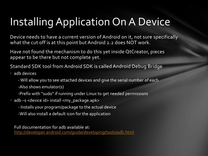 Installing Application On A Device