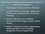 where do information communication and media fit into this equation