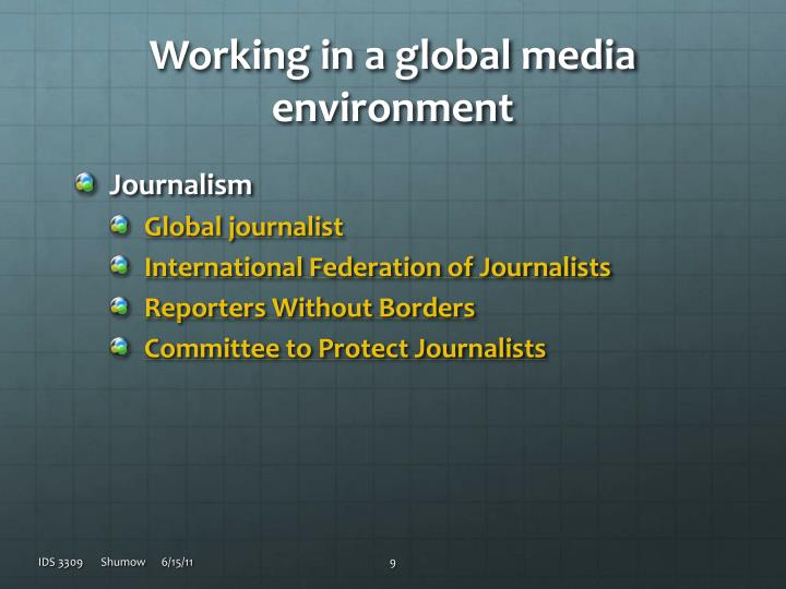 Working in a global media environment