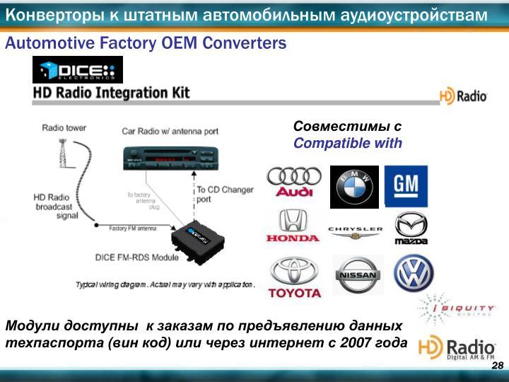 Конверторы к штатным автомобильным аудиоустройствам