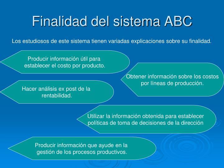 Finalidad del sistema ABC