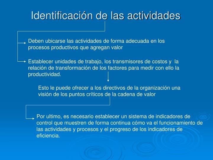 Identificación de las actividades