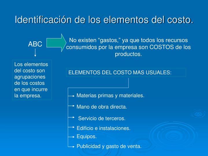 Identificación de los elementos del costo.