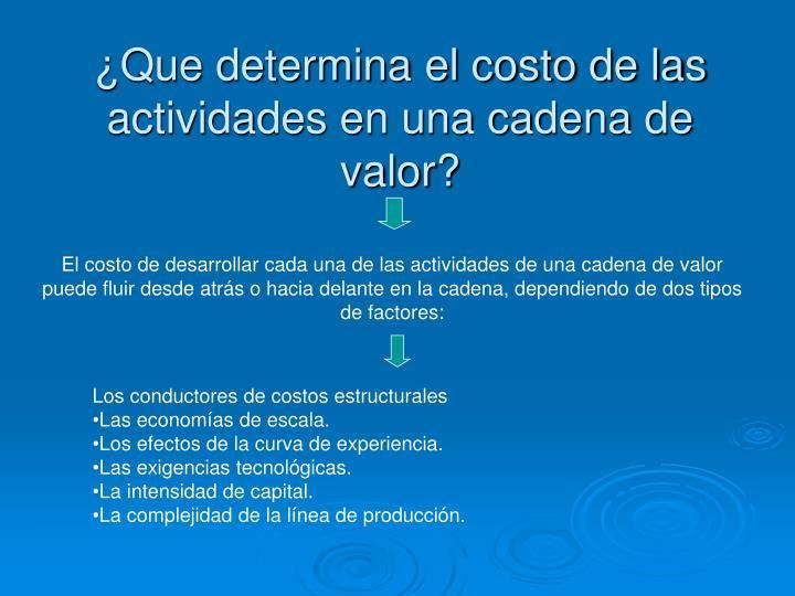 ¿Que determina el costo de las actividades en una cadena de valor?