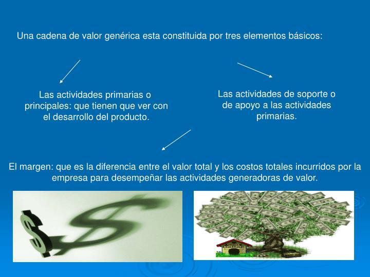 Una cadena de valor genérica esta constituida por tres elementos básicos: