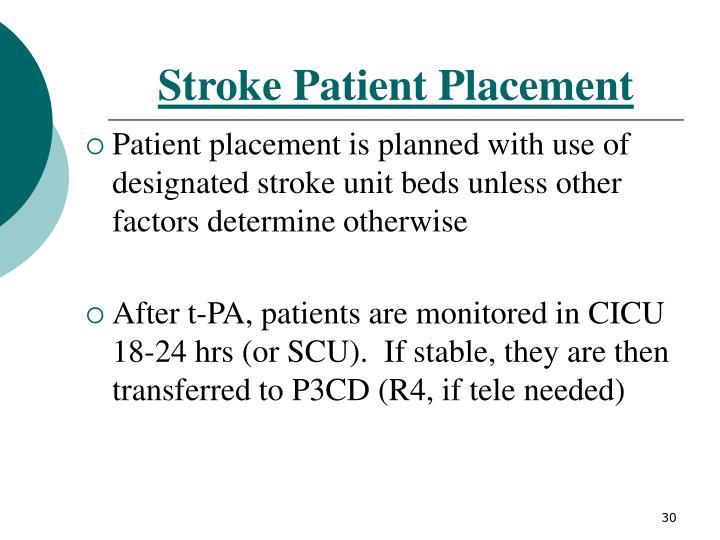 Stroke Patient Placement