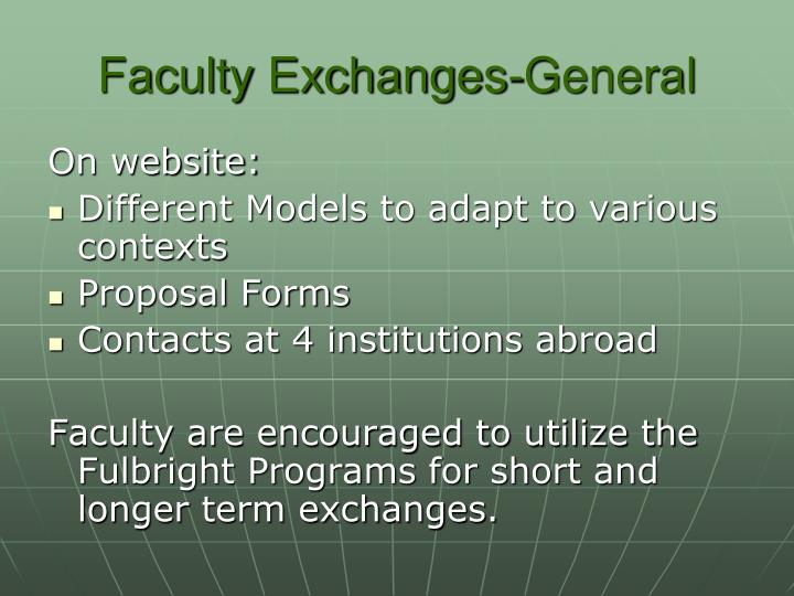 Faculty Exchanges-General