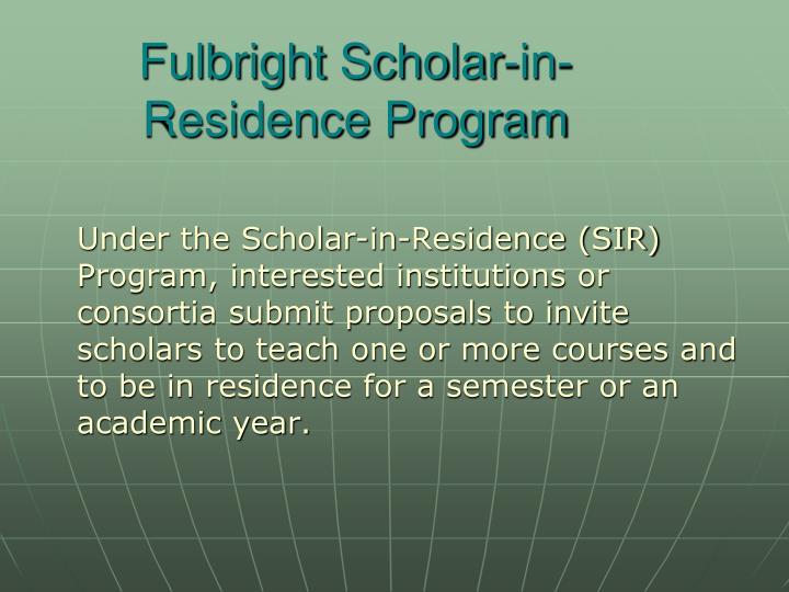 Fulbright Scholar-in-Residence Program