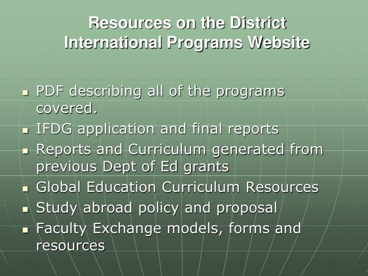 Resources on the District