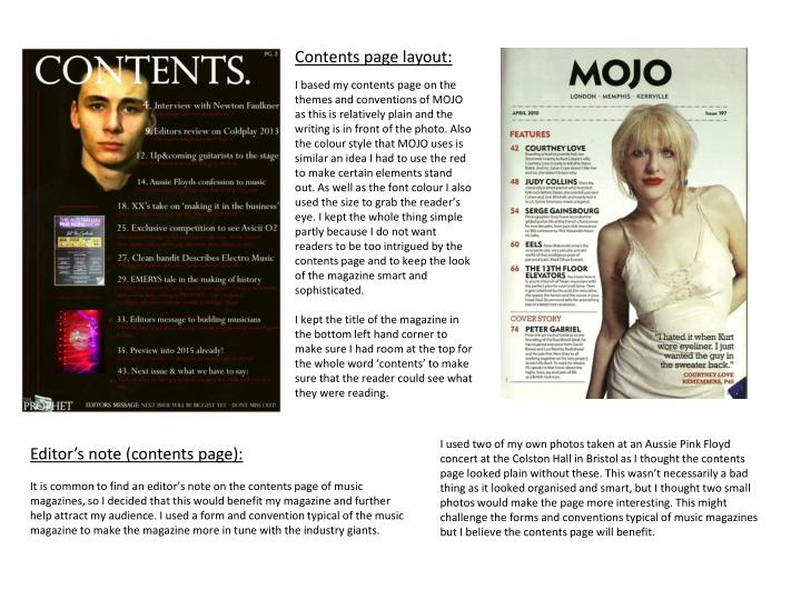 Contents page layout: