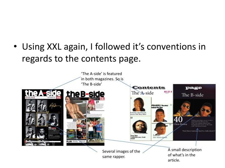 Using XXL again, I followed it's conventions in regards to the contents page.