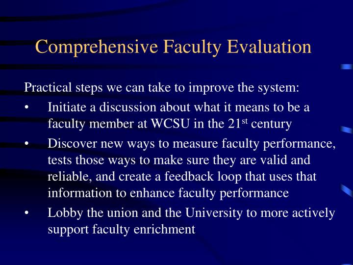 Comprehensive Faculty Evaluation