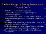 student ratings of faculty performance dos and don ts