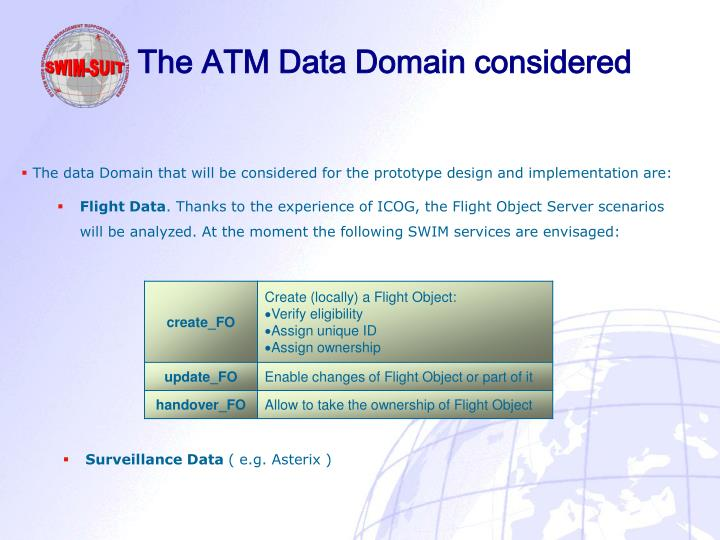 The ATM Data Domain considered