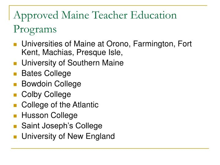 Approved Maine Teacher Education Programs