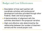 budget and cost effectiveness