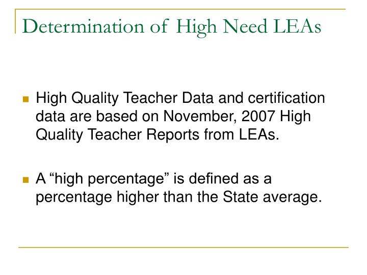 Determination of High Need LEAs