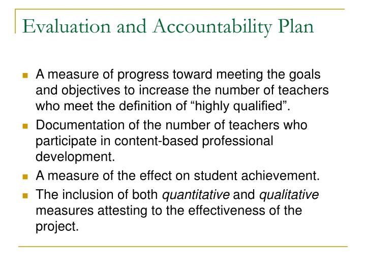 Evaluation and Accountability Plan