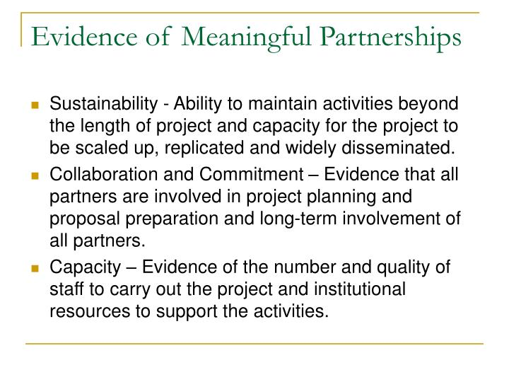 Evidence of Meaningful Partnerships