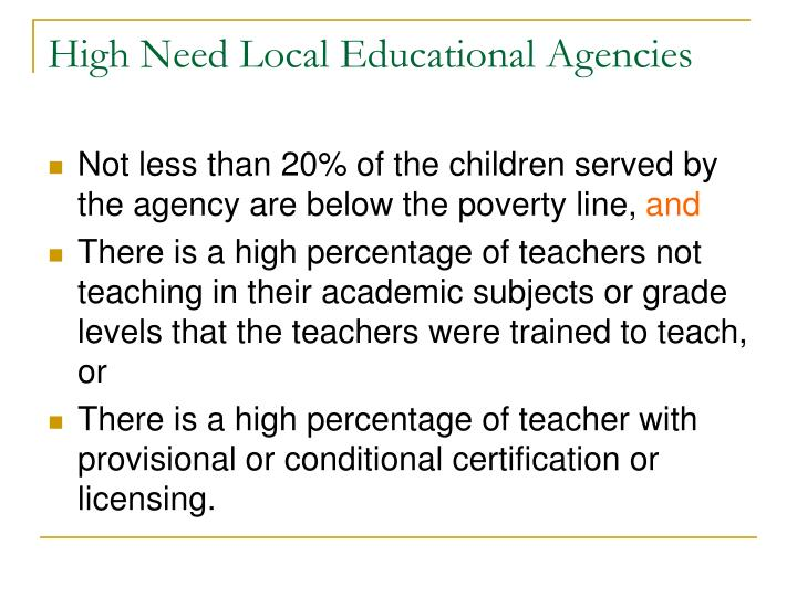 High Need Local Educational Agencies