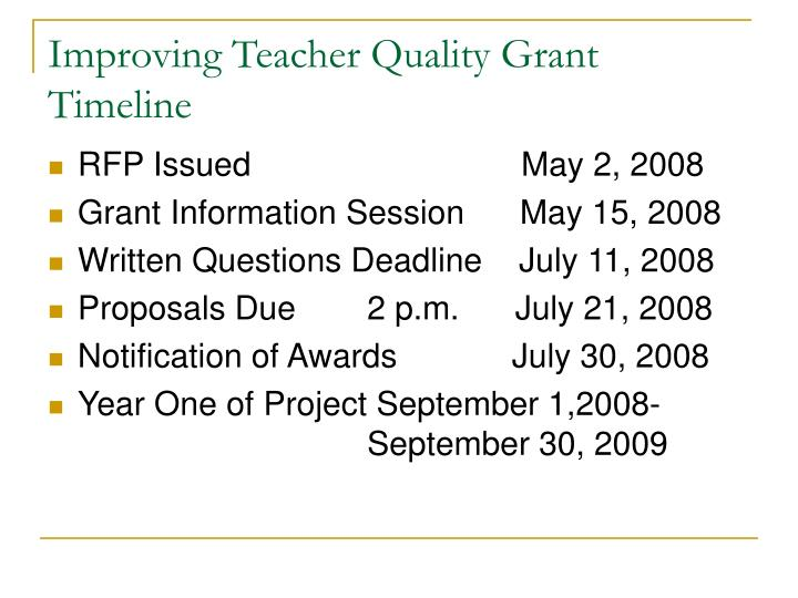 Improving Teacher Quality Grant Timeline