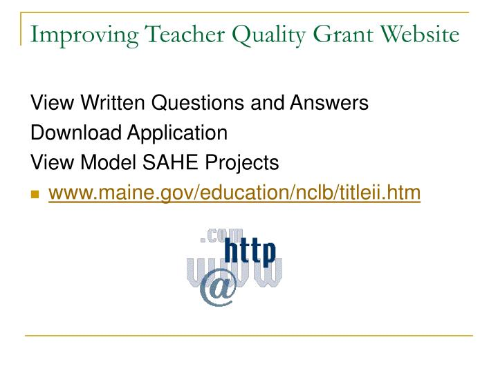 Improving Teacher Quality Grant Website