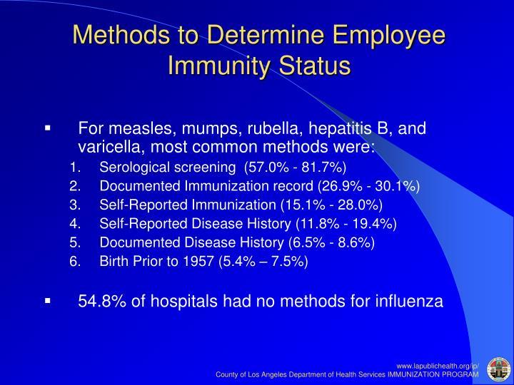 Methods to Determine Employee Immunity Status