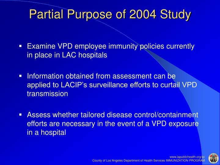 Partial Purpose of 2004 Study
