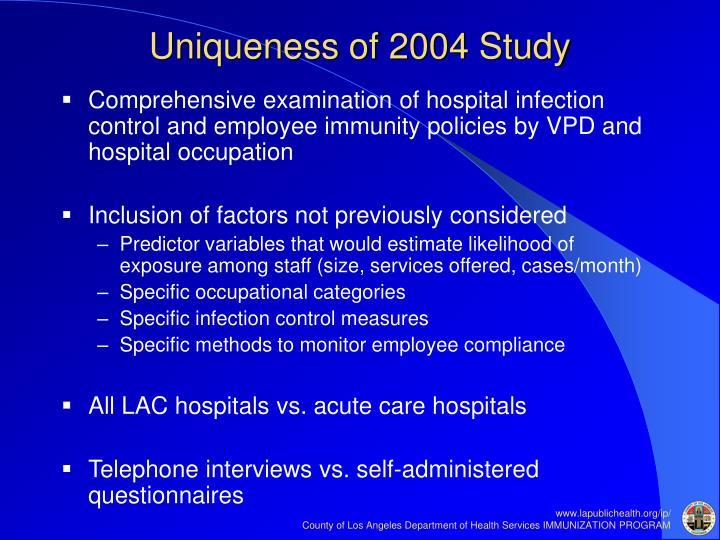 Uniqueness of 2004 Study