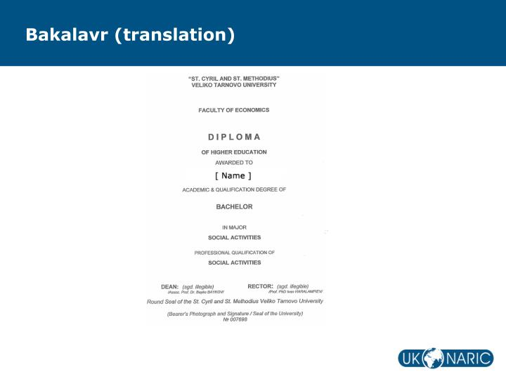 Bakalavr (translation)