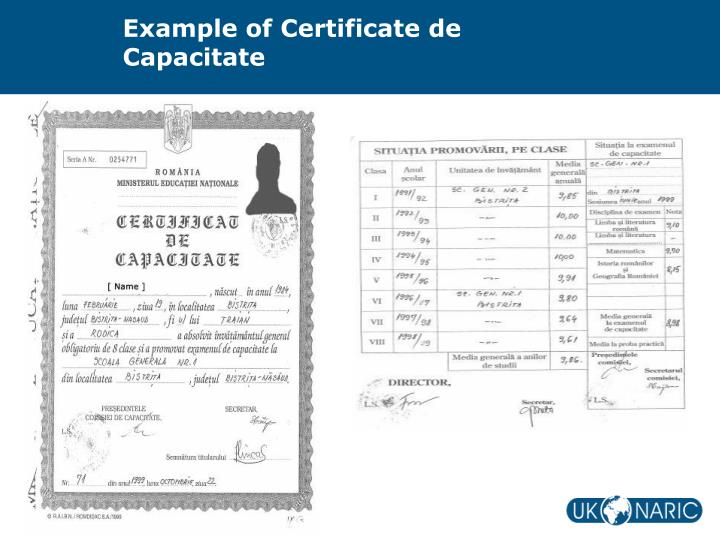 Example of Certificate de Capacitate