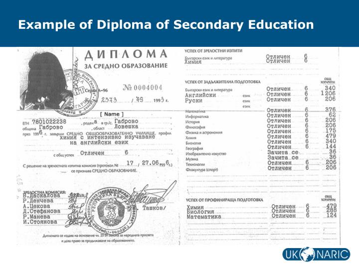 Example of Diploma of Secondary Education