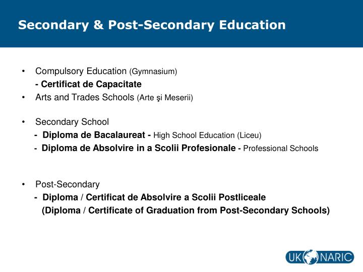 Secondary & Post-Secondary Education