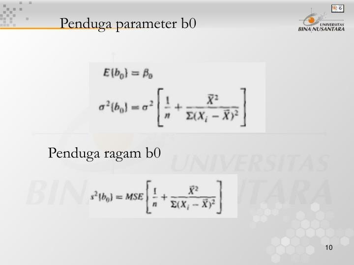 Penduga parameter b0
