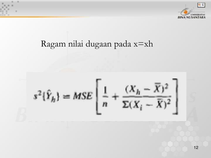 Ragam nilai dugaan pada x=xh