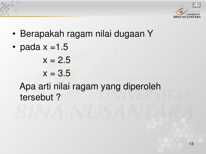 Berapakah ragam nilai dugaan Y