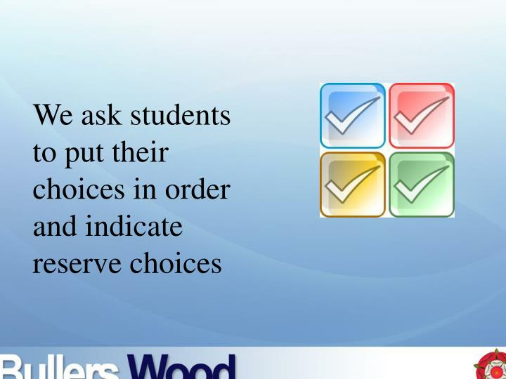 We ask students to put their choices in order and indicate reserve choices