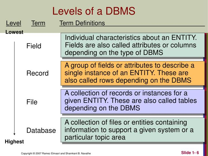 Levels of a DBMS