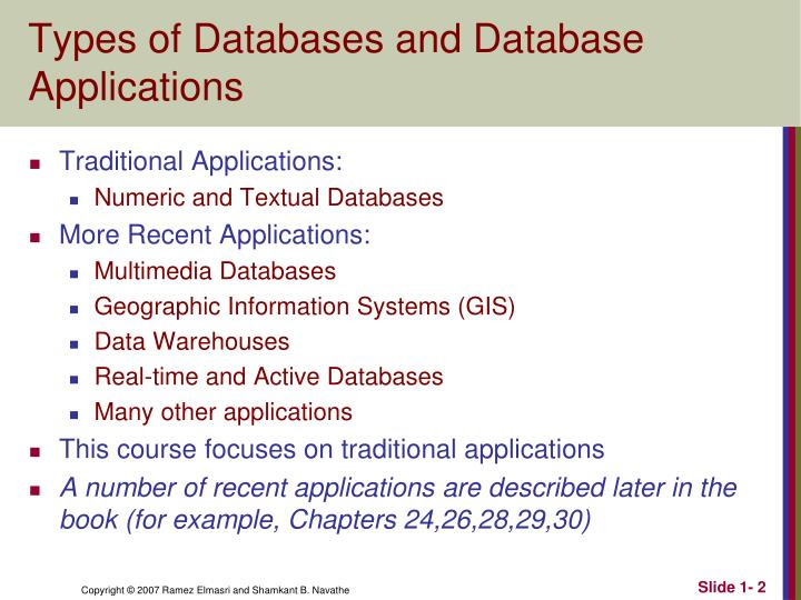 Types of databases and database applications