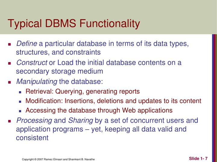 Typical DBMS Functionality