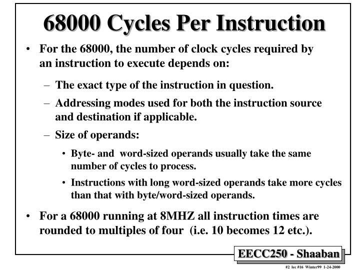 68000 Cycles Per Instruction