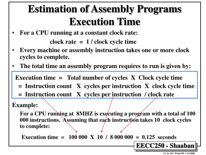 Estimation of Assembly Programs Execution Time