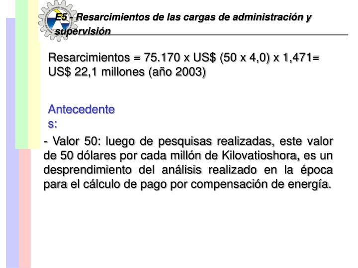 E5 - Resarcimientos de las cargas de administración y supervisión