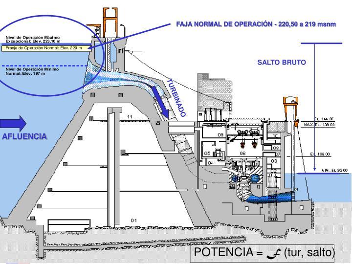 FAJA NORMAL DE OPERACIÓN - 220,50 a 219 msnm