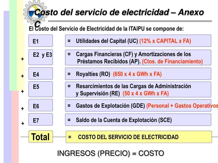 Costo del servicio de electricidad – Anexo C