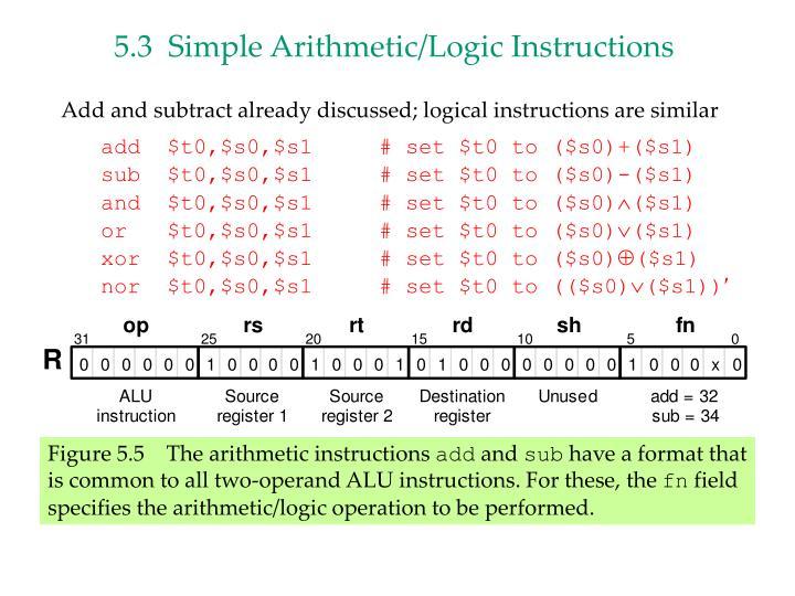 5.3  Simple Arithmetic/Logic Instructions