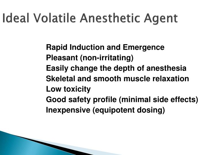 Ideal Volatile Anesthetic Agent