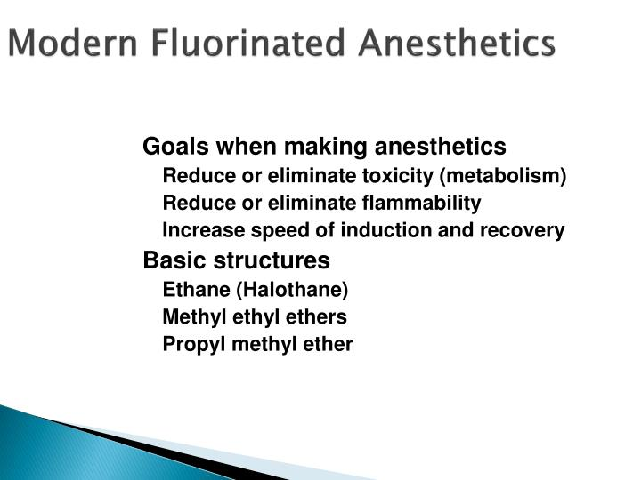 Modern Fluorinated Anesthetics