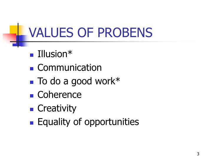 Values of probens